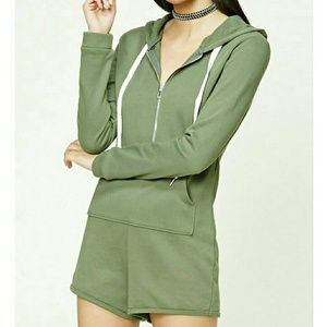 Forever 21 Green French Terry Romper Hoodie